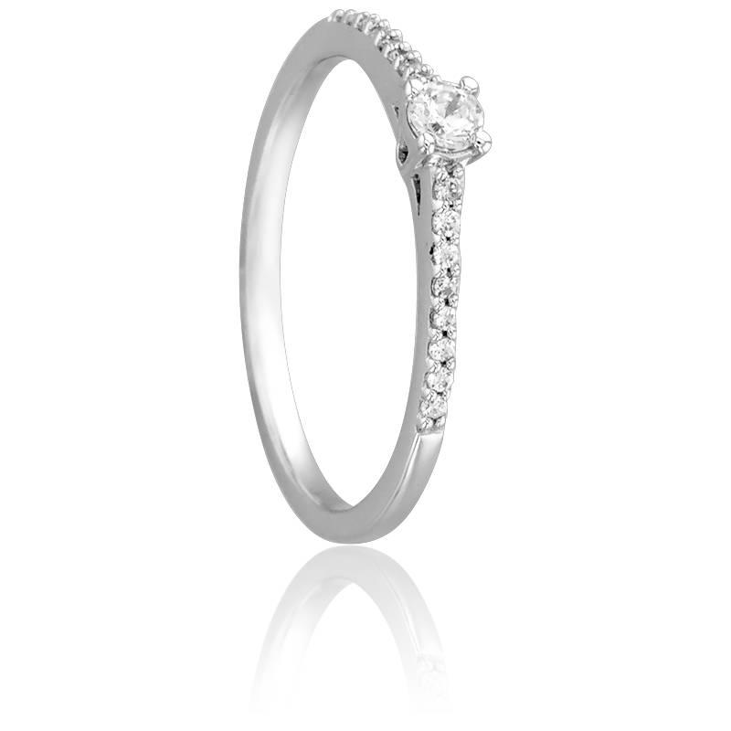 Bague Solitaire Hélia, Diamant 0,10 ct & Or Blanc 18K