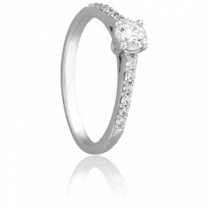Bague Solitaire Hélia, Diamant 0,38 ct & Or Blanc 18K