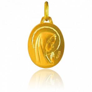 Médaille Ovale Vierge Qui Prie Or Jaune 18K