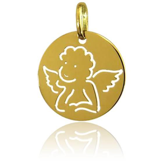 Médaille Ronde Ange Raphaël Dessin Or Jaune 18K