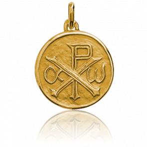 Médaille Ronde Chrisme Or Jaune 18K