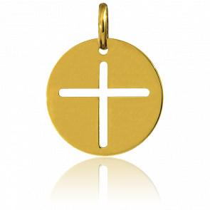 Médaille Ronde Croix Or Jaune 18K