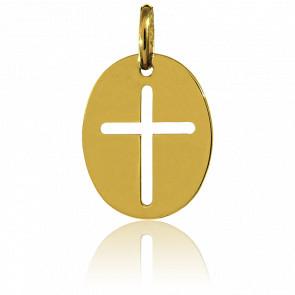 Médaille Ovale Croix Or Jaune 18K - Augis