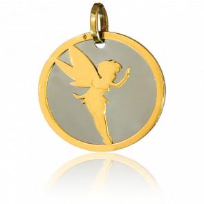 Médaille Fée Or Jaune 18K & Acier Gris