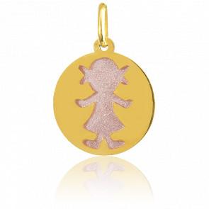 Médaille Les Petits Trésors Fille Rose Or Jaune 18K