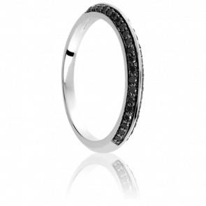 Bague Diadème Or Blanc 18K & Diamants Noirs