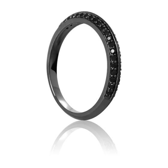 Bague Diadème Or Noir & Diamants Noirs