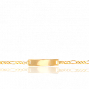 Gourmette Maille Figaro 1/3 Plaque 20 x 4 mm Or Jaune 18K