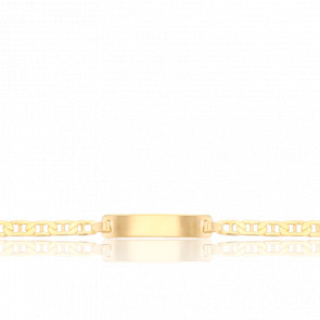 Gourmette Maille Marine Battue Plaque 20 x 4 mm Or Jaune 18K