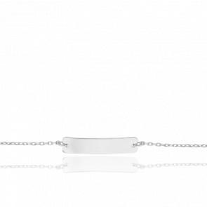 Gourmette Maille Forçat Diamantée Plaque 20 x 4 mm Or Blanc 18K