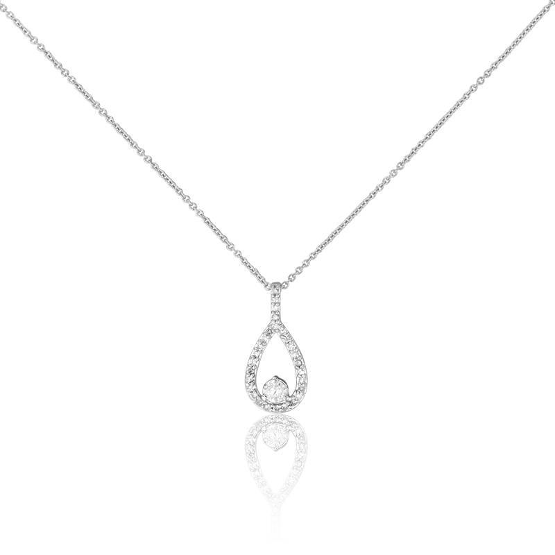 collier en or blanc 18k goutte solitaire et diamants h gringoire ocarat. Black Bedroom Furniture Sets. Home Design Ideas