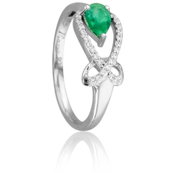 Bague Itam Emeraude & Diamants Or Blanc 18K