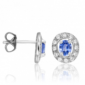 Boucles d'oreilles Stoeng Saphir & Diamants Or Blanc 18K