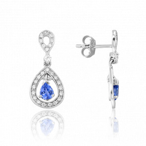 Boucles d'oreilles Kapi Saphir & Diamants Or Blanc 18K