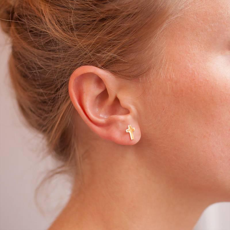 Boucle d'oreille croix femme or