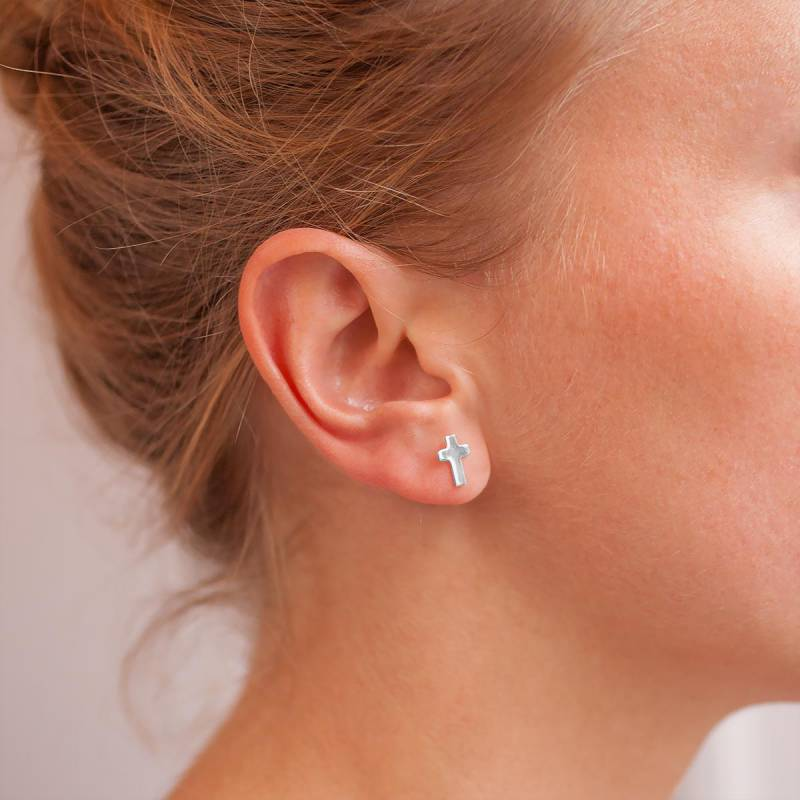 Boucle d'oreille or croix