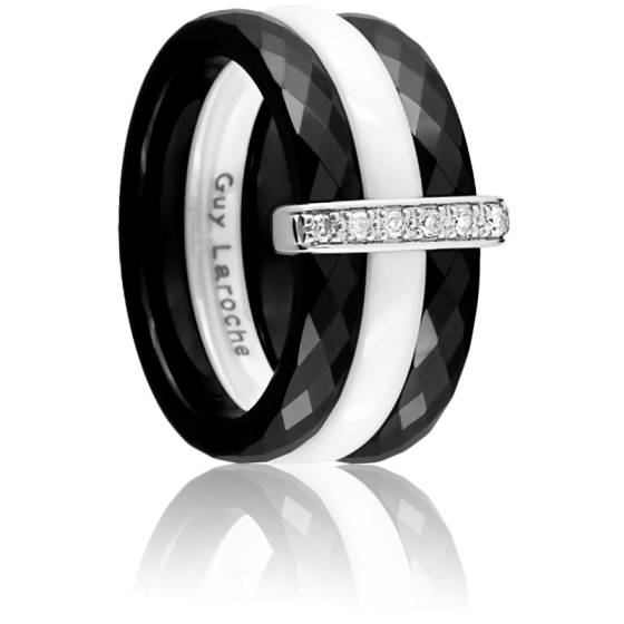 bague duo de couleurs en or blanc 18k diamants de 0 06 carat ocarat. Black Bedroom Furniture Sets. Home Design Ideas
