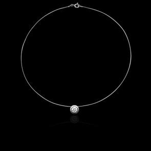 Collier Shine Or Blanc 18K et Diamant 0,25 ct (serti clos)