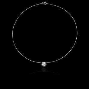Collier Shine Or Blanc 18K et Diamant 0,20 ct (serti clos)
