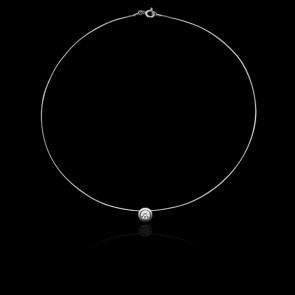 Collier Shine Or Blanc 18K et Diamant 0,10 ct  (serti clos)