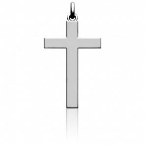 Croix à Fil Carré en Or Blanc 18K