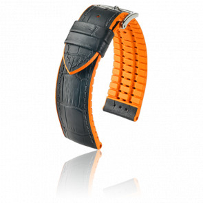 Bracelet Andy Noir- Orange / Silver - Entrecorne 22 mm