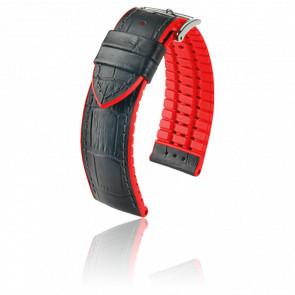 Bracelet Andy Noir-Rouge / Silver - Entrecorne 24 mm