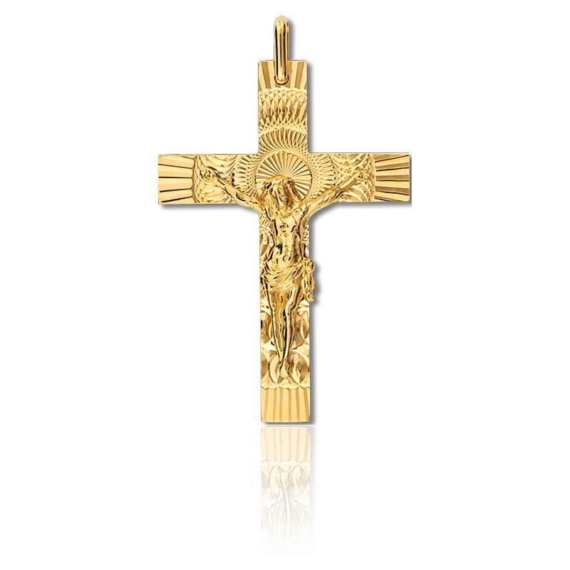 croix christ solaire en or jaune 42 mm lucas lucor sur ocarat ocarat. Black Bedroom Furniture Sets. Home Design Ideas