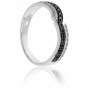 Bague Eiao Diamants Noirs et Blancs