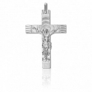Croix Christ Solaire 30 x 42 mm Or Blanc 18K