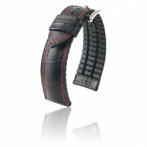 Bracelet George Noir-Rouge / Silver - Entrecorne 22 mm