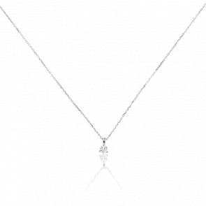 Collier Shine 3 griffes Or Blanc 18k & Diamant 0,20 ct