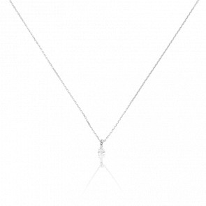 Collier Shine 3 griffes Or Blanc 18K & Diamant 0,10 ct
