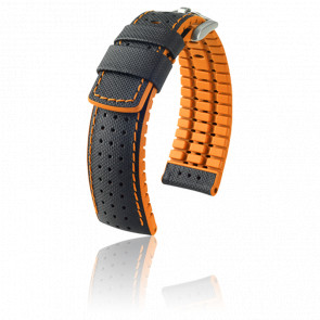 Bracelet Robby Noir - Orange / Silver - Entrecorne 20 mm