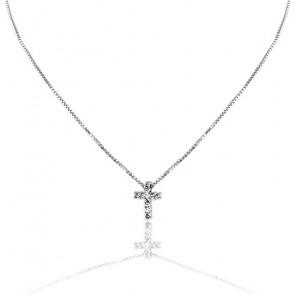 Collier Croix Pavée Or Blanc 9K et Diamants