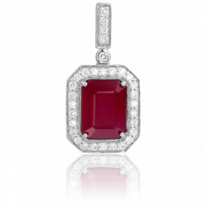 Pendentif Rubis Carré & Diamants
