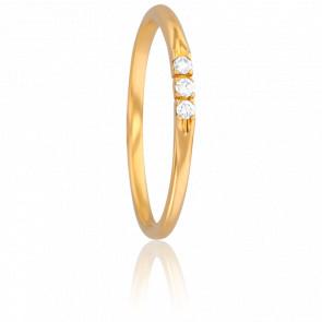 Bague Demi Jonc Lovely Vermeil Or Jaune & Diamant