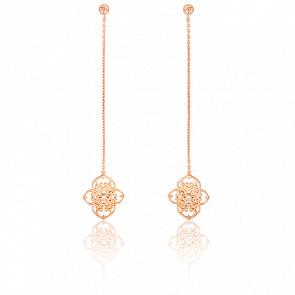 Boucles d'Oreilles Pendantes Trèfle Vermeil Or Rose & Diamants