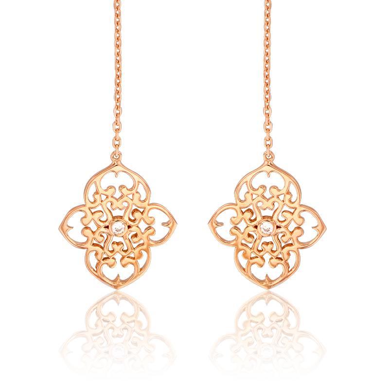 boucles d 39 oreilles pendantes tr fle vermeil or rose diamant ocarat. Black Bedroom Furniture Sets. Home Design Ideas