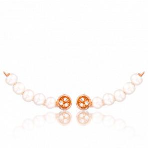 Boucles d'Oreilles Montantes Vermeil Or Rose, Perles & Diamants