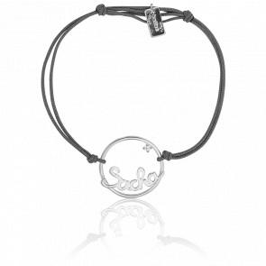 Bracelet prénom personnalisé 18 mm cordon & or blanc 9K