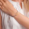 Bracelet prénom personnalisé 18 mm, cordon & or jaune 9K