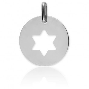 Médaille Etoile de David Ajourée Or Blanc 18K