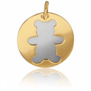 Médaille Or Jaune 18K & Ourson Acier Gris
