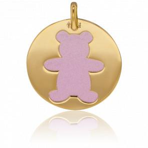 Médaille Or Jaune 18K & Ourson Acier Rose