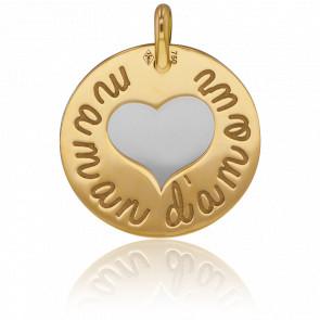 Médaille Maman d'Amour Or Jaune 18K & Acier Gris