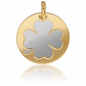 Médaille Ø16mm Or Jaune 18K & Trèfle Acier Gris