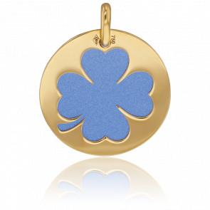 Médaille Or Jaune 18K & Trèfle Acier Bleu