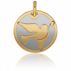 Médaille Colombe Or Jaune 18K & Acier Gris