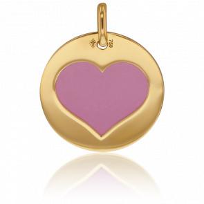Médaille Or Jaune 18K & Coeur Acier Rose